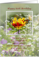 Birthday, 80th, Religious, Tulip and Butterfly card