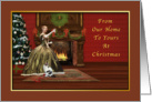 Christmas, Old Fashioned, Fireplace, Woman Raising Glass in Toast card