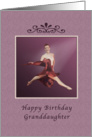 Birthday, Granddaughter, Leaping Ballerina in Red and Lavender card