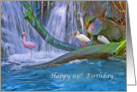 Birthday, 65th, Tropical Waterfall, Flamingos and Ibises card