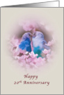 Anniversary, 20th, Loving Parakeets and Pink Flowers card