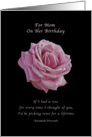 Birthday, Mom, Pink Rose on Black card