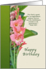 Birthday Card with Pink Gladiolus card
