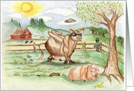 UFO at the Farm card