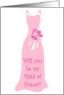 Will you be my Maid of Honor? Light Pink card