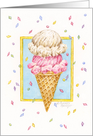 Birthday Double Decker Ice Cream Cone card