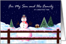 Christmas Card, Son and His Family, Snowman, 'A Christmas Welcome' card