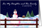 Christmas Card, Daughter and Her Family, Snowman, 'A Christmas Welcome' card