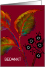 Dutch Thank You Note, Greeting Card, 'Flaming Leaves' card