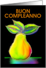 Italian Happy Birthday Greeting Card, 'Psycedelic Pear' card