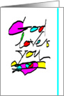Happy Birthday, Religious Calligraphy Greeting Card, 'God Loves You' card