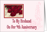 To My Husband 9th Anniversary Card