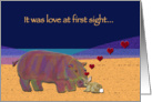 Hippo and Rabbit Love Valentine card