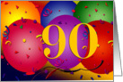 90th Birthday Balloons card