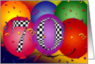 70th Birthday Balloons! card