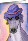 Greyhound whippet dog wearing a trilby hat Card