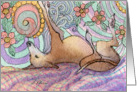 Greyhound whippet dog asleep and dreaming Card