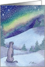 Greyhound whippet dog, starry, starry night Card