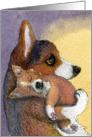 Dreaming Corgi pup and mother Card