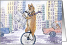 Corgi dog reading a newspaper riding a unicycle on his way to work card