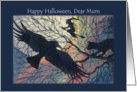 Happy Halloween Mum, witchy night silhouette. card