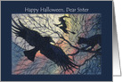 Happy Halloween Sister. Witchy night silhouette. card