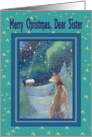 Merry Christmas dear Sister, Christmas greyhound winter scene card