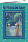 Merry Christmas dear Husband, Christmas greyhound winter scene card