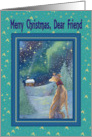 Merry Christmas dear friend, Christmas greyhound winter scene card