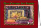 Merry Christmas Daughter, sleeping Corgi by an open fire card