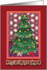 Merry Christmas Nephew, Corgi under a Christmas tree card
