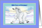 With love at Christmas, blank card, white poodle on ice skates card