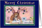 Merry Christmas, Corgi writing Christmas cards