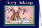 Happy Holidays, Corgi writing Christmas cards