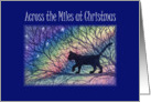 Across the miles at Christmas, cat out and about card