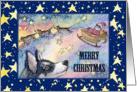 Merry Christmas, husky reindeer with santa's sleigh card