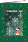 Christmas wishes to you, Robin red breast with snowflakes card