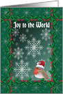 Joy to the World Christmas card, Robin red breast with snowflakes card