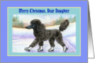 Merry Christmas Daughter, black Poodle on ice skates card