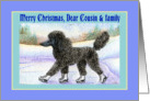 Merry Christmas Cousin & Family, black Poodle on ice skates card