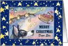 Merry Christmas Son, Husky reindeer with Santa's sleigh card