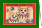 Merry Christmas our house to yours, Corgis wearing jingle bell collars card