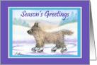 Season's Greetings, Cairn Terrier ice skating card