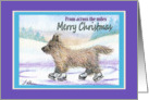 Merry Christmas from across the miles, Cairn Terrier ice skating card
