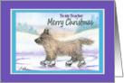 Merry Christmas Teacher, Cairn Terrier ice skating card
