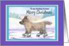 Merry Christmas Partner, Cairn Terrier ice skating card