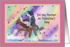 Valentine Partner, romantic Border Collie dogs ballroom dancing, card