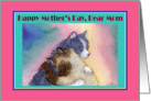Happy Mother's Day Mom, tabby cat british blue cat hugging card