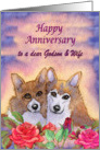 Happy Anniversary Godson & Wife, dog card, married couple card