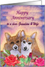 Happy Anniversary Grandson & Wife, dog card, married couple card